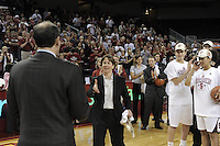 March 14, 2010.  Head Coach Tara VanDerveer receives her game ball after the Stanford Cardinal beat the UCLA Bruins to win the 2010 Pac-10 Tournament.
