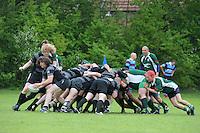 RUGBY: GORREDIJK: Sportpark Kortezwaag, 26-05-2013, Friesland Cup, Feanster Rugbyclub tegen RC De Wrotters Gorredijk (groen), rechts voor Suzan Zijlstra enige vrouw tussen de mannen, ©foto Martin de Jong
