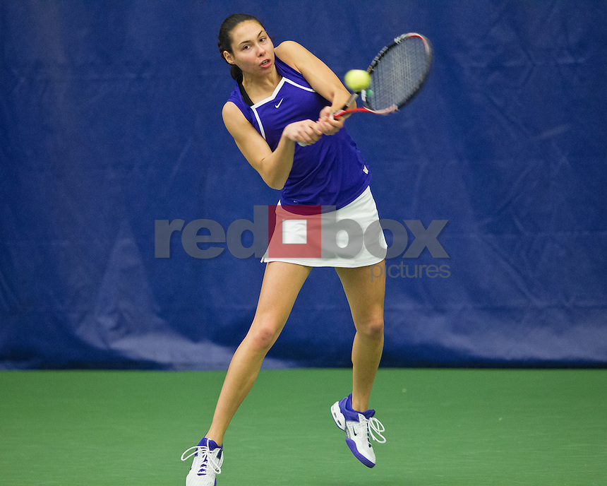 Samantha Smith..--------Washington Huskies women's tennis team vs California Bears at the Nordstrom Tennis Center in Seattle on Friday, March 16, 2012. (Photo by Dan DeLong/Red Box Pictures)