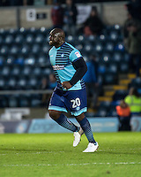 Adebayo Akinfenwa of Wycombe Wanderers celebrates his goal during the Sky Bet League 2 match between Wycombe Wanderers and Luton Town at Adams Park, High Wycombe, England on the 21st January 2017. Photo by Liam McAvoy.