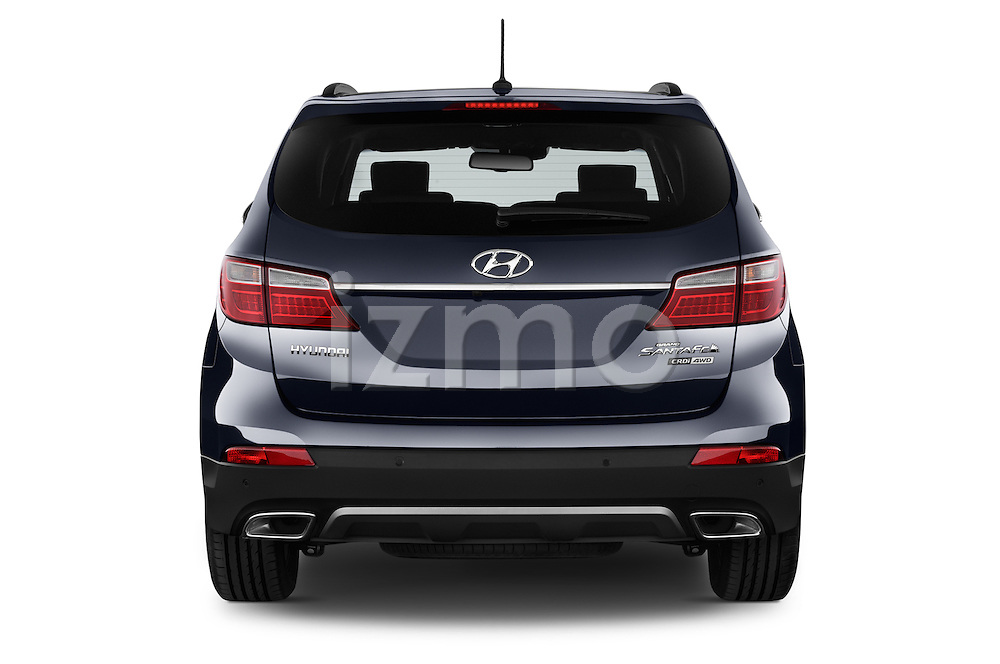 Straight rear view of a 2015 Hyundai Grand Santa Fe Executive 5 Door SUV stock images