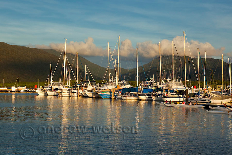 Boats in Marlin Marina at sunset.  Cairns, Queensland, Australia