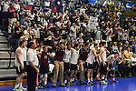 27 APR 2014: The Springfield College gets ready to celebrate during the Division III Men's Volleyball Championship held at the Kennedy Sports Center in Huntingdon, PA. Springfield defeated Juniata 3-0 to win the national title.  Mark Selders/NCAA Photos