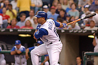 Royals DH Carlos Beltran hits a broken bat single in the first inning of game two of a double header against Baltimore at Kauffman Stadium in Kansas City, Missouri on May 9, 2003. The Orioles won 5-4.