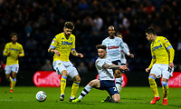 Preston North End's Sean Maguire battles with Leeds United's Mateusz Klich and Pablo Hernandez<br /> <br /> Photographer Alex Dodd/CameraSport<br /> <br /> The EFL Sky Bet Championship - Preston North End v Leeds United -Tuesday 9th April 2019 - Deepdale Stadium - Preston<br /> <br /> World Copyright &copy; 2019 CameraSport. All rights reserved. 43 Linden Ave. Countesthorpe. Leicester. England. LE8 5PG - Tel: +44 (0) 116 277 4147 - admin@camerasport.com - www.camerasport.com