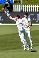 Jonny Bairstow  and Alastair Cook of England celebrates the wicket of Ish Sodhi of the Black Caps during Day 3 of the Second International Cricket Test match, New Zealand V England, Hagley Oval, Christchurch, New Zealand, 1st April 2018.Copyright photo: John Davidson / www.photosport.nz