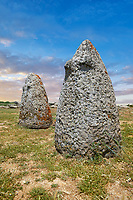 Picture and image of the prehistoric nuragic conical stone betyls representing female fertility with 2 small carved breasts, probably nuragic sacred stones, The Prehistoric Nuragic Complex of Tamuli, Macomer, Sardinia.