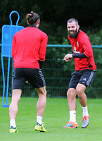 (L-R) Gareth Bale and Joe Ledley in action during the Wales Training Session at the Vale Resort, Hensol, Wales, UK. Tuesday 29 August 2017