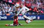 Christian Eriksen of Tottenham Hotspur is challenged by Ashley Young of Manchester United during the FA cup semi-final match at Wembley Stadium, London. Picture date 21st April, 2018. Picture credit should read: Robin Parker/Sportimage