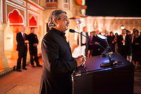 Yunus Khimani of the Jaipur Palace gives a speech at the OzFest Gala Dinner in the Jaipur City Palace, in Rajasthan, India on 10 January 2013. Photo by Suzanne Lee