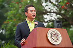 Mission Hills Vice Chairman Tenniel Chu gives a speech during the Press conference for the opening of Boris Becker Tennis Academy at Mission Hills Resort on 19 March 2016, in Shenzhen, China. Photo by Lucas Schifres / Power Sport Images