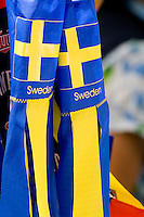 Blue Sweden windsocks with yellow logos. Svenskarnas Dag Swedish Heritage Day Minnehaha Park Minneapolis Minnesota USA