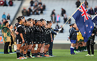 The Black Ferns line up before the Laurie O'Reilly Memorial Trophy international women's rugby match between the New Zealand Black Ferns and Australia Wallaroos at Eden Park in Auckland, New Zealand on Saturday 25 August 2018. Photo: Simon Watts / lintottphoto.co.nz