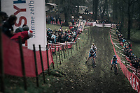 Katie Compton (USA/KFC Racing p/b Trek/Panache) at the front with Eva Lechner (ITA/Clif) &amp; Nikki Brammeier (GBR/Doels-Bolmans)<br /> <br /> Women's race<br /> UCI CX World Cup Namur / Belgium 2017