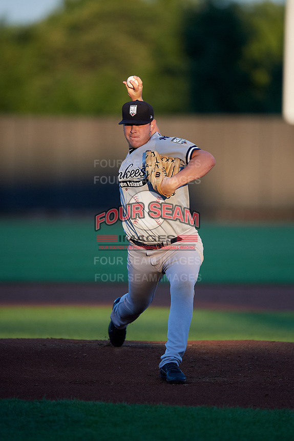 Staten Island Yankees starting pitcher Rodney Hutchison (62) delivers a pitch during a game against the Aberdeen IronBirds on August 23, 2018 at Leidos Field at Ripken Stadium in Aberdeen, Maryland.  Aberdeen defeated Staten Island 6-2.  (Mike Janes/Four Seam Images)