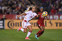 San Diego, CA - Sunday January 21, 2018: Frederikke Thøgersen, Crystal Dunn prior to an international friendly between the women's national teams of the United States (USA) and Denmark (DEN) at SDCCU Stadium.