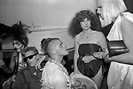 The Alternative Miss World beauty pageant competition Olympia West London 1981. Back stage competitor getting ready. 1980s UK