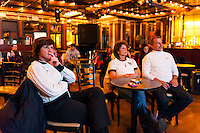 Former women's national team players April Heinrichs and Michelle Akers watch the USWNT play Germany during the centennial celebration of U. S. Soccer at Nevada Smiths in New York, NY, on April 05, 2013.
