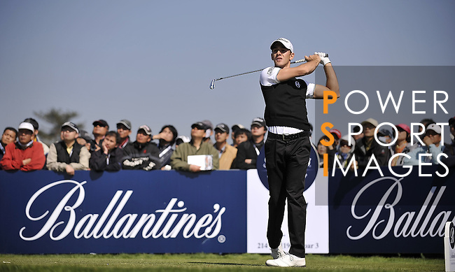 JEJU, SOUTH KOREA - APRIL 25:  Tano Goya of Argentina tees off on the 17th hole during the Round Three of the Ballantine's Championship at Pinx Golf Club on April 25, 2010 in Jeju, South Korea. Photo by Victor Fraile / The Power of Sport Images