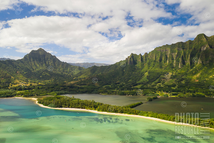 Aerial view of Kualoa Regional Park and Moli'i Pond (or Fishpond), Kane'ohe Bay, Windward O'ahu.