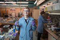 "Nick Foy '17 is a chemistry major conducting original scientific research as part of Oxy's Summer Research Program. Photographed in Norris Hall of Chemistry on June 29, 2016.<br /> <br /> ""When I was looking at schools I was looking for small schools where I could do things like research and have close relationships with professors. Working in the lab has been the most positive part of my experience here, I think.<br /> <br /> We're trying to synthesize a natural product, which is basically a molecule that appears in nature, using techniques that would make synthesizing this molecule easier. Medicinal chemists or other researchers trying to make different molecules would use techniques that we're trying here. Developing new reactions makes things easier to make in general so that's what would make it cheaper, is being able to make these things [like medicine] with more ease and fewer steps.""<br /> <br /> https://www.instagram.com/p/BHxbnqfgaKA/?taken-by=occidentalcollege<br /> (Photo by Marc Campos, Occidental College Photographer)"