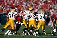 SAN FRANCISCO, CA - Quarterback Brett Favre of the Green Bay Packers in action during a game against the San Francisco 49ers at Candlestick Park in San Francisco, California in 1995. Photo by Brad Mangin