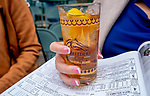 November 2, 2018: A woman enjoys a drink on Breeders' Cup World Championship Friday at Churchill Downs on November 2, 2018 in Louisville, Kentucky. Scott Serio/Eclipse Sportswire/CSM