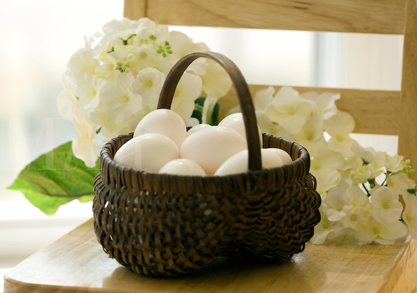White Eggs in Basket