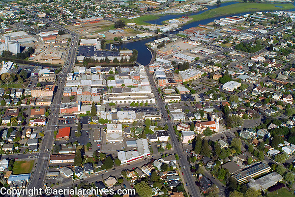 aerial photograph of downtown Petaluma, Sonoma county, California