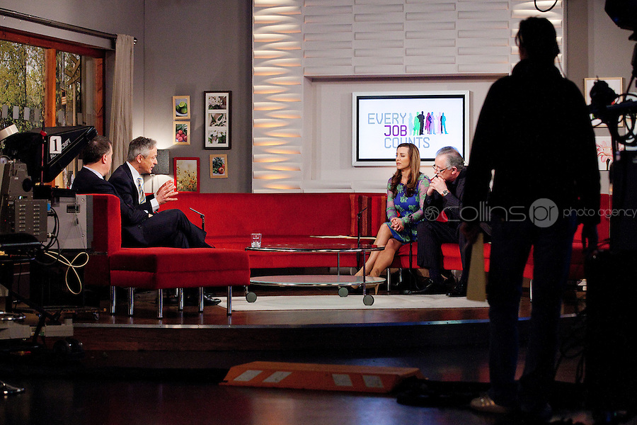 NO REPRO FEE. 7/4/2011. Minister Richard Bruton launches TV3's 'Every Job Counts' campaign.  Mark Cagney, The Minister for Enterprise, Jobs and Innovation, Richard Bruton, Sinead Desmond and TV3 Chief Executive David McRedmond are pictured at TV3 Studios during an interview for Ireland am in order to launch TV3's new campaign - Every Job Counts'  which aims to highlight and publicise Irish based companies which are creating new jobs in these tough economic times. During April TV3 will highlight the Trojan work undertaken by thousands of Irish businesses which strive to exploit the opportunities which can come out of economic decline and stagnation and which endeavor to grow turnover and employment.Businesses big and small are urged to log onto TV3.ie/Everyjobcounts and tell us how many jobs they have created recently or over the past 12 months and how they managed to do it against all the odds. The most inspiring stories will be filmed and broadcast on TV3's News at 5.30, Ireland am and Midweek during the month. As a further source of assistance and help, TV3 will offer a EUR50,000 advertising and promotional bursary for the most inspiring story of job creation we receive over the course of the month. Details on how to enter TV3's Every Job Counts campaign can be found at: www.tv3.ie/everyjobcounts Picture James Horan/Collins Photos