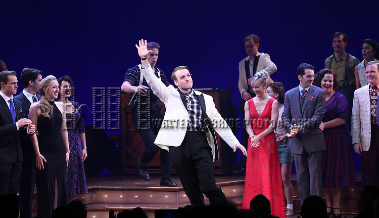 Geoff Packard and cast during the Broadway Opening Night Curtain Call Bows of 'Bandstand' at the Bernard B. Jacobs Theatre on 4/26/2017 in New York City.
