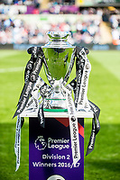 Sunday April 02 2017 <br /> Pictured: The PL2 trophy as Swansea City U23 Players receive medals and the PL2 trophy at the Game <br /> Re: Premier League match between Swansea City and Middlesbrough at The Liberty Stadium, Swansea, Wales, UK. SUnday 02 April 2017