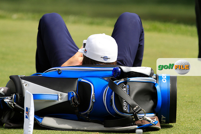 Kristoffer Broberg (SWE) waiting on the 16th tee during the Pro-Am of the Open de Espana  in Club de Golf el Prat, Barcelona on Wednesday 13th May 2015.<br /> Picture:  Thos Caffrey / www.golffile.ie