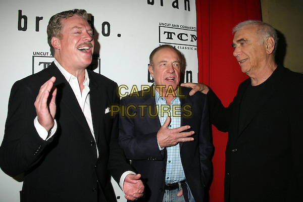 "CHRISTOPHER McDONALD, JAMES CAAN & ALBERT RUDDY.""Brando"" Los Angeles Premiere at the Egyptian Theatre, Hollywood, California, USA.April 17th, 2007.half length black blue suit jacket laughing hand on shoulder.CAP/ADM/BP.©Byron Purvis/AdMedia/Capital Pictures"