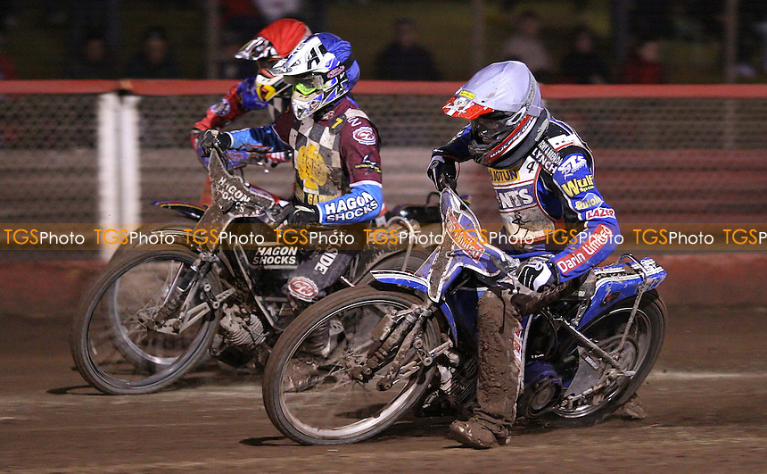 Heat 14: Adam Wrathall (white), Marc Owen (blue) and Shane Hazelden (red) - Hackney Hawks vs Scunthorpe Saints - National League Speedway at The Arena Essex Raceway, Purfleet - 07/10/11 - MANDATORY CREDIT: Rob Newell/TGSPHOTO - Self billing applies where appropriate - 0845 094 6026 - contact@tgsphoto.co.uk - NO UNPAID USE.