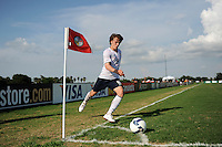 Jared Jeffrey (8) of the USA takes a corner kick. The US U-20 Men's National Team defeated the U-20 Men's National Team of Costa Rica 2-1 in an international friendly during day four of the US Soccer Development Academy  Spring Showcase in Sarasota, FL, on May 25, 2009.