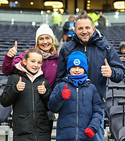 26th December 2019; Tottenham Hotspur Stadium, London, England; English Premier League Football, Tottenham Hotspur versus Brighton and Hove Albion; A family of Brighton fans looking forward to the game - Strictly Editorial Use Only. No use with unauthorized audio, video, data, fixture lists, club/league logos or 'live' services. Online in-match use limited to 120 images, no video emulation. No use in betting, games or single club/league/player publications