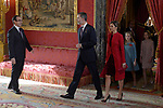 King Felipe VI of Spain, Queen Letizia of Spain, Princess Leonor of Spain and Princess Sofia of Spain attend the Order of Golden Fleece (Toison de Oro), ceremony at the Royal Palace. January 30,2018. (ALTERPHOTOS/Pool)