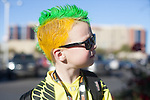 Riley McGarry, 6 of Salt Lake, Utah wears a yellow and green mohawlk before the Fiesta Bowl, thursday, Jan. 3, 2013.  ..Tribune Photo: Meg Williams ..1-3-12, 2013, DUCKS, Glendale, Kansas State, Phoenix, U OF O, University of Phoenix stadium, Fiesta bowl, football, tailgating, University of Oregon