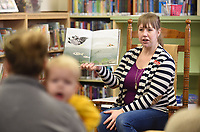 Joy Poynor, children's services librarian at the Farmington Public Library, reads a snow themed book Tuesday, January 14, 2020, during the Little Cardinal's Story Time at the library. The library is currently under expansion that will add about 1,000 square feet that will include a meeting and study room and a remodel of the the children's, teen and adult areas. Check out nwaonline.com/200115Daily/ and nwadg.com/photos for today's photo gallery.<br /> (NWA Democrat-Gazette/David Gottschalk)