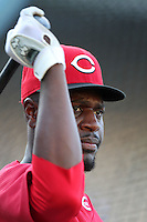 Cincinnati Reds shortstop Brandon Phillips #4 before a game against the Los Angeles Dodgers at Dodger Stadium on June 14, 2011 in Los Angeles,California. (Larry Goren/Four Seam Images)