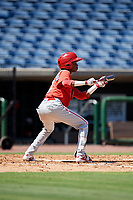 Philadelphia Phillies center fielder Julio Francisco (17) squares around to bunt during a Florida Instructional League game against the Toronto Blue Jays on September 24, 2018 at Spectrum Field in Clearwater, Florida.  (Mike Janes/Four Seam Images)