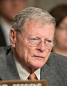"United States Senator Jim Inhofe (Republican of Oklahoma) listens to testimony before the United States Senate Committee on Armed Services concerning ""Global Challenges and the U.S. National Security Strategy"" in Washington, D.C. on Thursday, January 29, 2015.<br /> Credit: Ron Sachs / CNP"