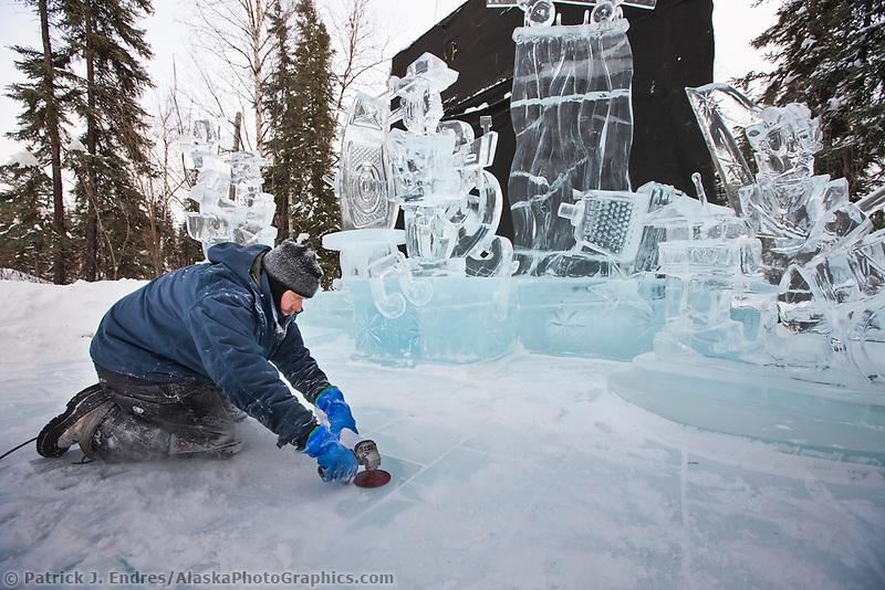 "2009 World Ice Art Championships multi-block competition. Sculpture titled ""Rockin the Night Away"" by Danny Spangle, Jeff Weston, Jeff DeJong, William Sanduski"