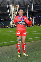 Bryan Habana of RC Toulon lifts the European Rugby Champions Cup trophy