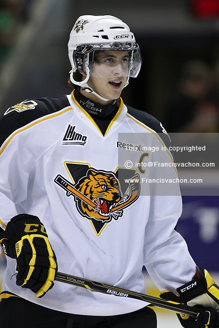 QMJHL (LHJMQ) hockey profile photo on Victoriaville Tigres Phillip Danault October 13, 2011 at the Colisee Pepsi in Quebec city.