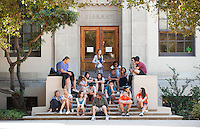 First years relax on the steps of the library before lining up for convocation, Aug. 29, 2012. (Photo by Marc Campos, Occidental College Photographer)
