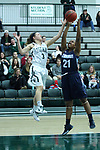 23 February 2018:  Kelsey Walsberg and Hannah Henderson reach for a rebound during an NCAA women's CCIW Semi-Final basketball game between the Elmhurst Bluejays and the Illinois Wesleyan Titans in Shirk Center, Bloomington IL