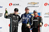 Verizon IndyCar Series<br /> Chevrolet Detroit Grand Prix Race 2<br /> Raceway at Belle Isle Park, Detroit, MI USA<br /> Sunday 4 June 2017<br /> Graham Rahal, Rahal Letterman Lanigan Racing Honda podium Will Power, Team Penske Chevrolet champagne Will Power, Team Penske Chevrolet<br /> World Copyright: Michael L. Levitt<br /> LAT Images