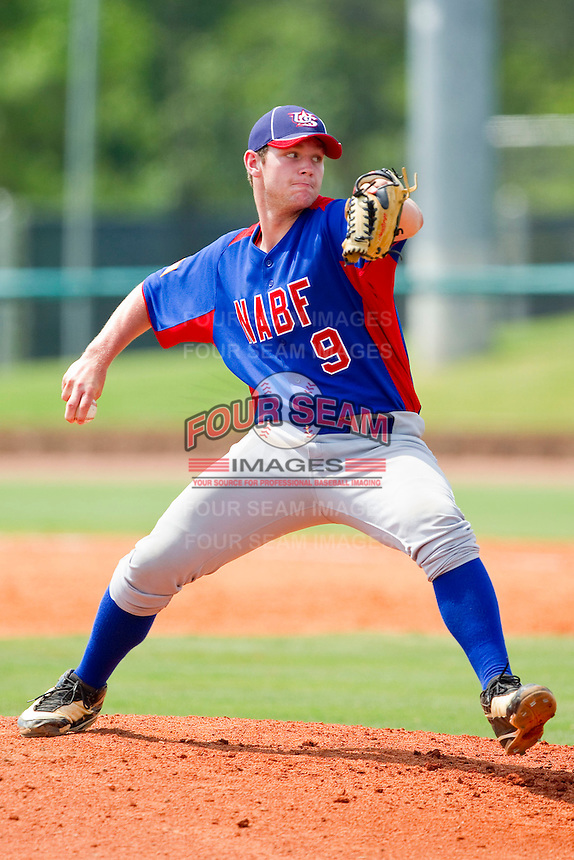Luke Cahill #9 of NABF in action against the American Legion at the 2011 Tournament of Stars at the USA Baseball National Training Center on June 26, 2011 in Cary, North Carolina.  NABF defeated American Legion 5-0. (Brian Westerholt/Four Seam Images)